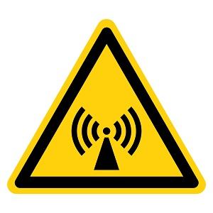 Black and yellow radiation triangle hazard icon.
