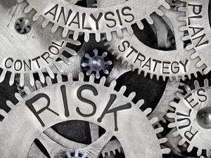 Gears that say words like Analysis, Control, Strategy and Risk.