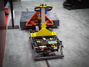 Automated Guided Vehicle in a warehouse.