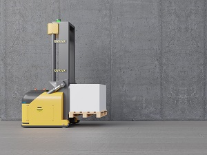 An automated guided vehicle that looks similar to a forkift.