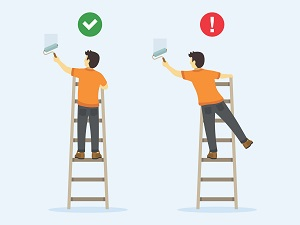 A graphic that demonstrates how you should not overreach while on a step ladder.