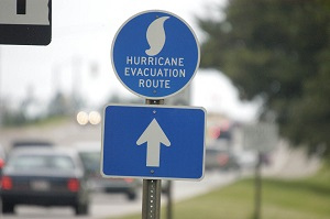 """A road sign that says, """"Hurricane Evacuation Route."""""""