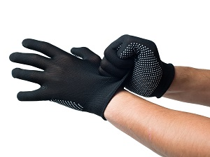 Worker putting on snug-fitting black work gloves.