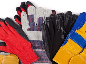 Assortment of different kinds of work gloves.