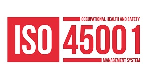 Logo image that says ISO 45001 Occupational Health and Safety Management System.