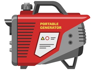 Graphic of a small, red portable generator.