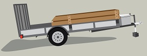 Graphic representation of a trailer that you can pull behind a vehicle.
