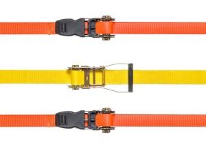 Orange and yellow tie-down straps.