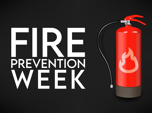 Fire Prevention Week banner with the image of a fire extinguisher.