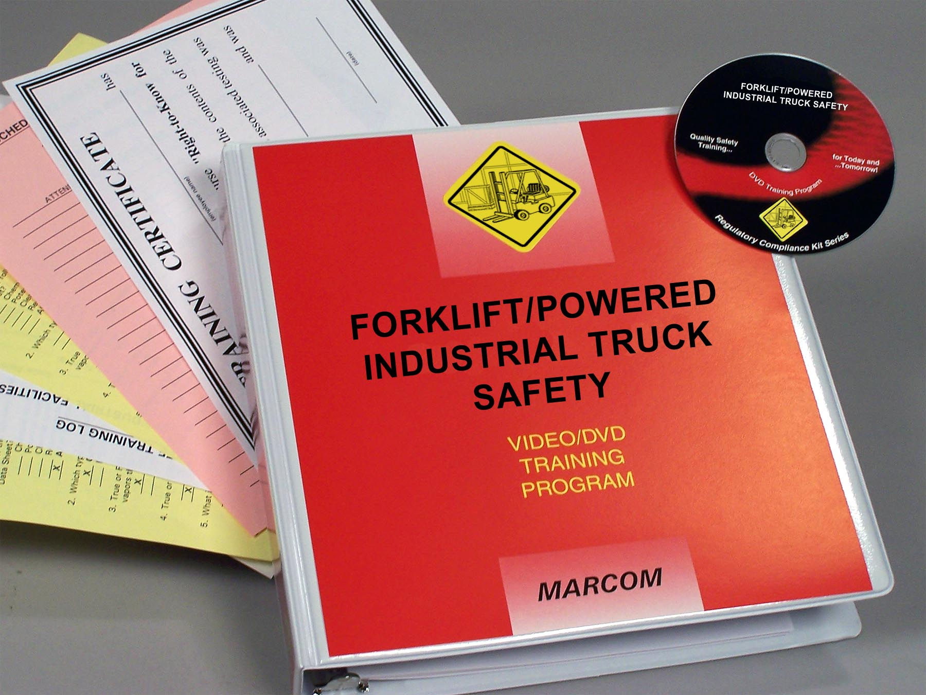 MARCOM's Forklift/Powered Industrial Truck Safety DVD Program has been designed to give employees the information they need to work safely with this equipment, while helping employers comply with OSHA's Powered Industrial Truck Standard. The DVD program comes with a comprehensive leader's guide, reproducible scheduling & attendance form, employee quiz, training certificate and training log.
