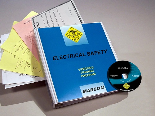 """MARCOM's Electrical Safety DVD Program discusses how electricity """"works"""", explains its hazards and describes the procedures and equipment that employees should use to work safely around low voltage electricity. The DVD program comes with a comprehensive leader's guide, reproducible scheduling & attendance form, employee quiz, training certificate and training log."""