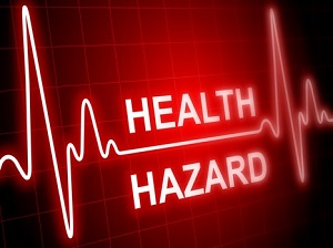 """A medical graphic that says """"Health Hazard"""""""