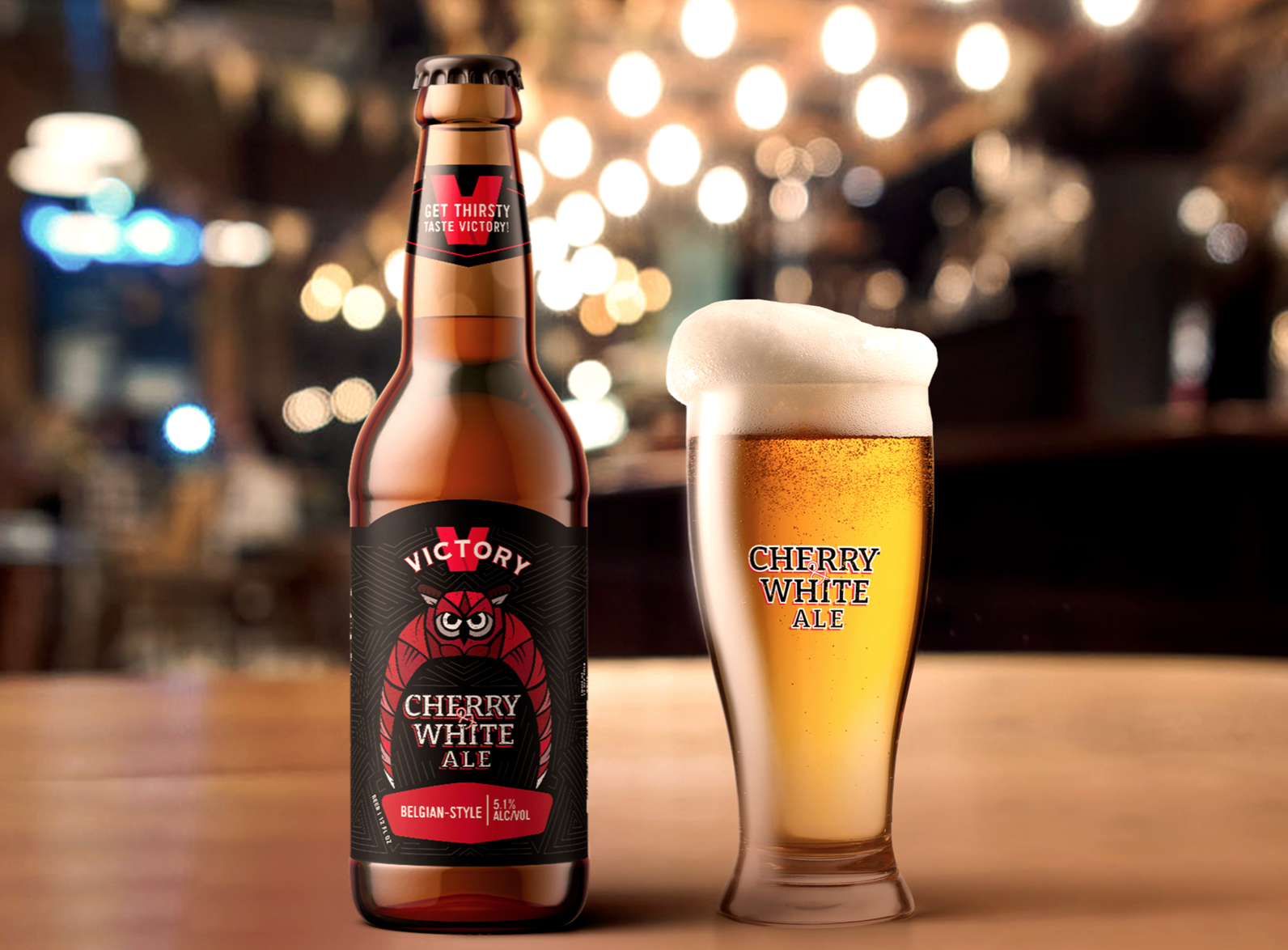 Cherry & White Ale bottle packaging in a restaurant