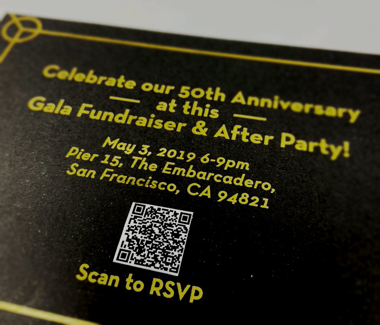 close up of the card with the mobile website code