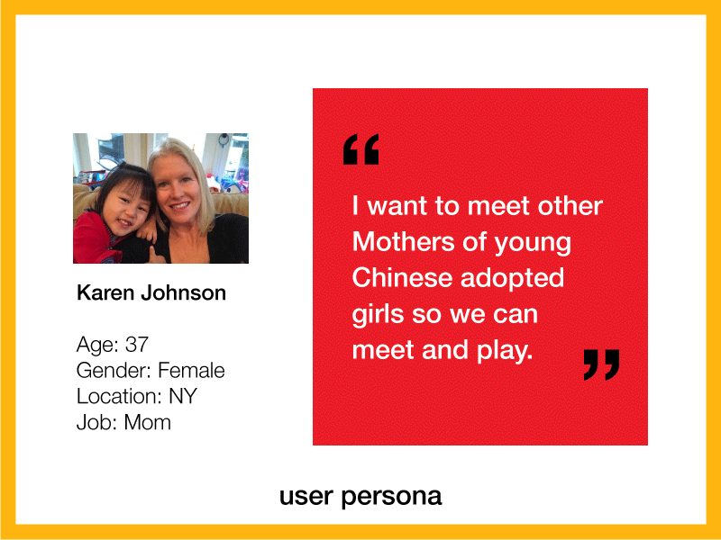 user persona for a Chinese adoptee mother