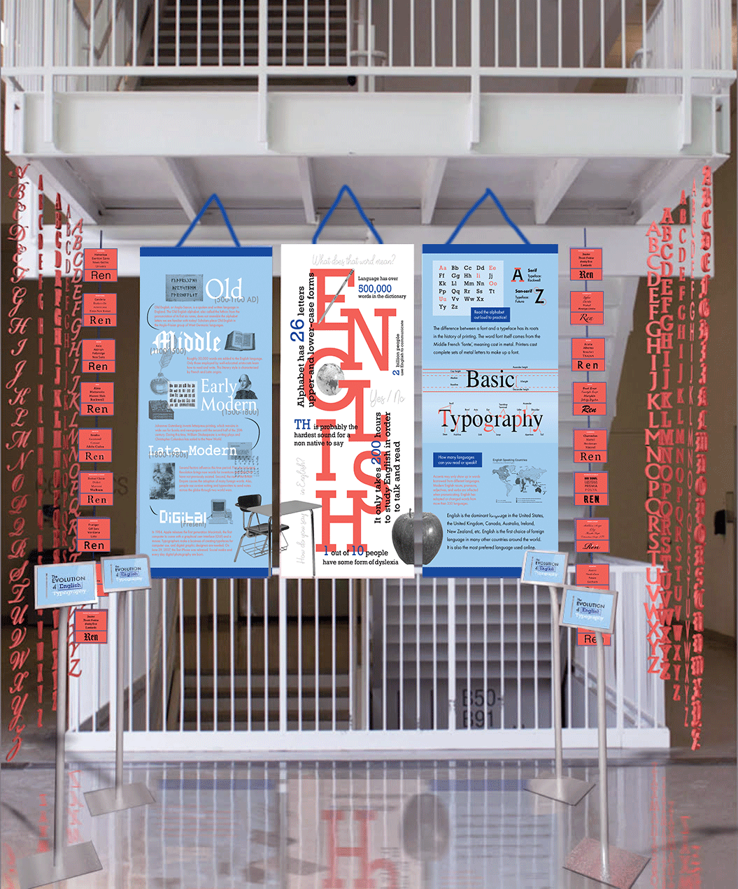 The Evolution of English Typography Exhibition with banners, iPads, and hanging alphabets