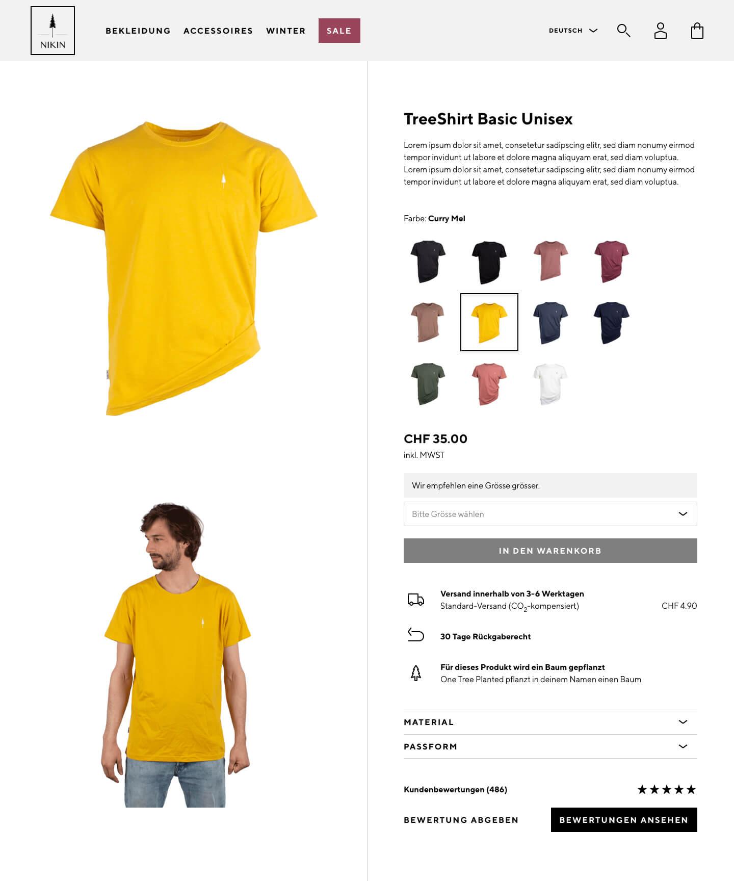 Nikin Online-Shop Detailseite