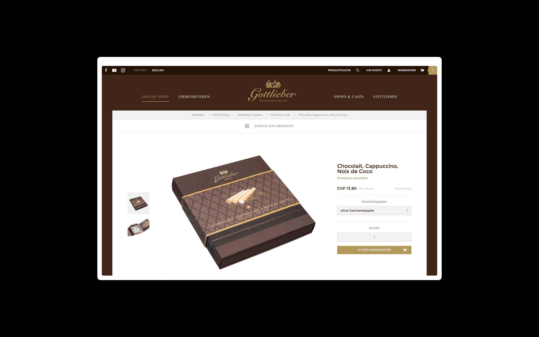 Gottlieber Online-Shop Detailseite