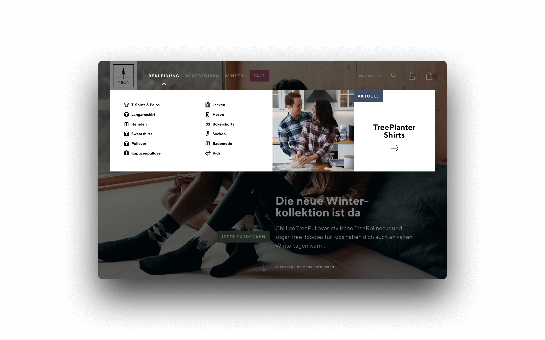 Nikin Online-Shop Navigation