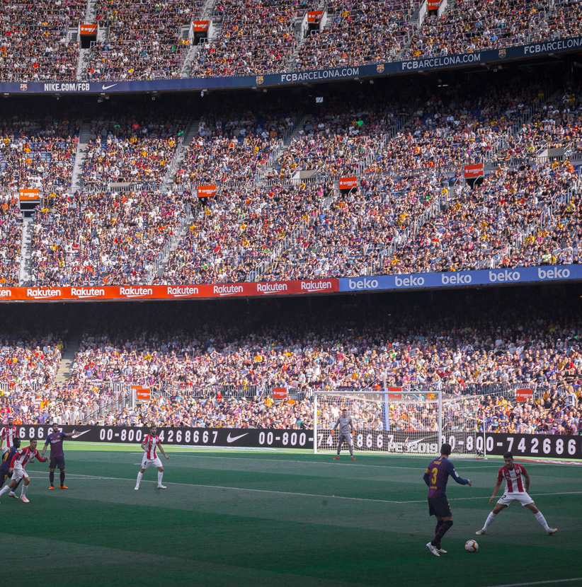 Soccer teams Barcelona and Athletico Madrid face off at the Camp Nou Statidum in Barcelona, Spain