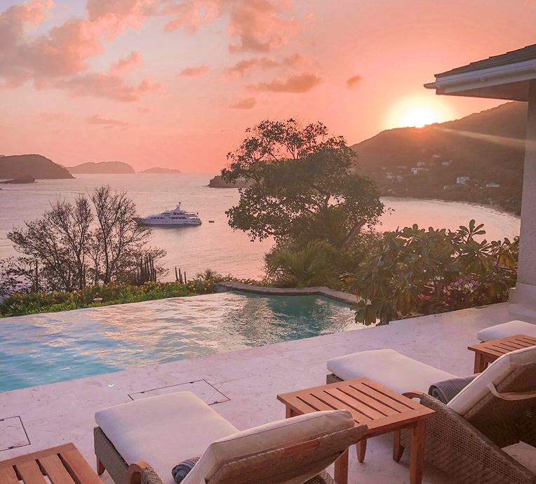The Star of the Sea yacht as seen from the Grenadine Hills private Villa, part of the Bequia Beach Hotel