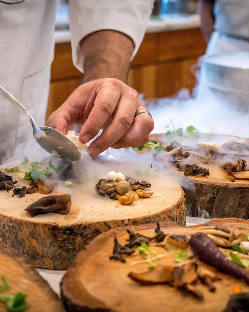 Dinner is being prepared at Noma—the world's best restaurant, with 2 Michelin stars—in  Copenhagen, Denmark