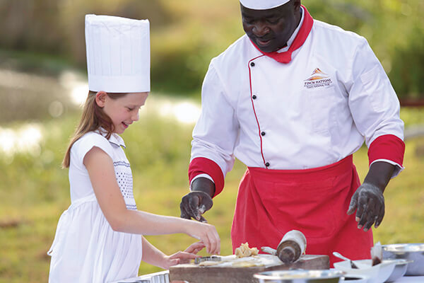 Children's cooking class with the hotel chef at Finch Hattons Private Luxury Tented Camp in Kenya