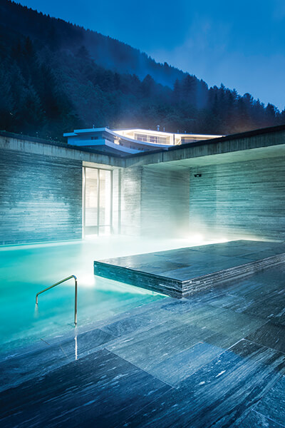 Made from 60,000 slabs of Vals quartzite, the thermal baths at Hotel 7132 have protected heritage status