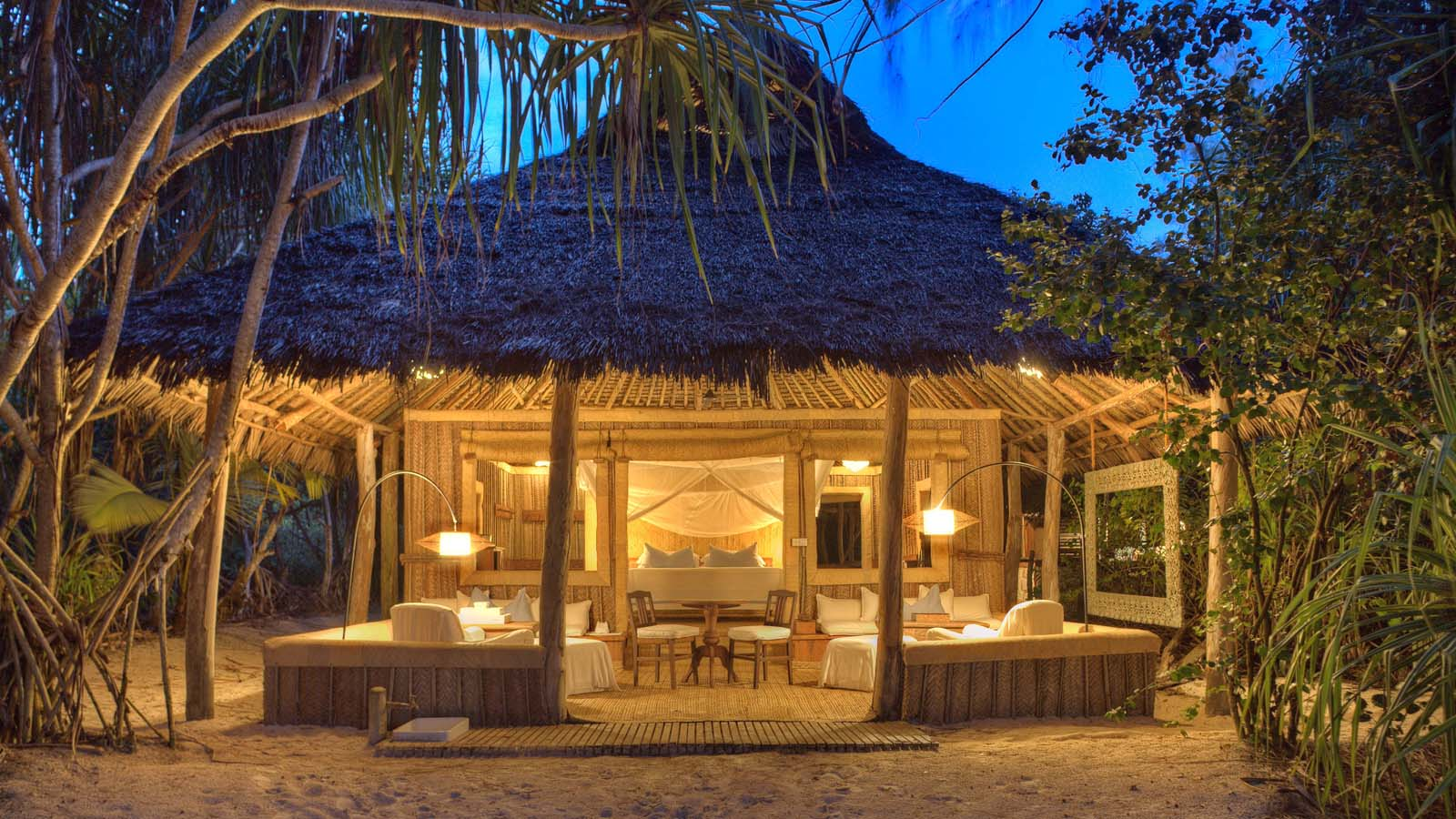 The private and luxurious accomodations at Mnemba Island Lodge, a private island in Zanzibar, Tanzania