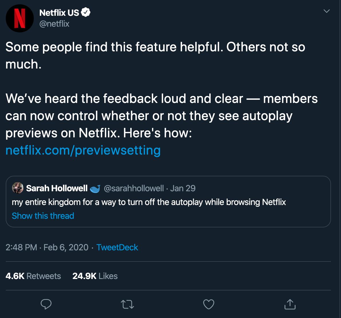 Netflix twitter screenshot