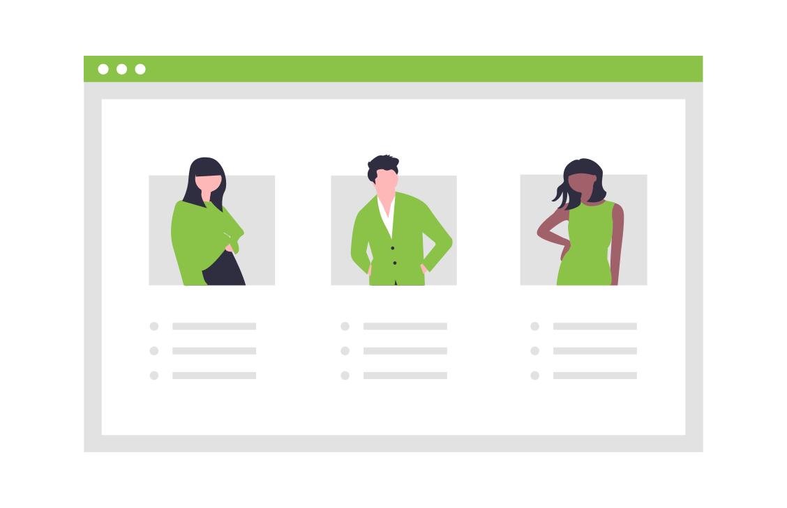 multiple personas illustration self-service