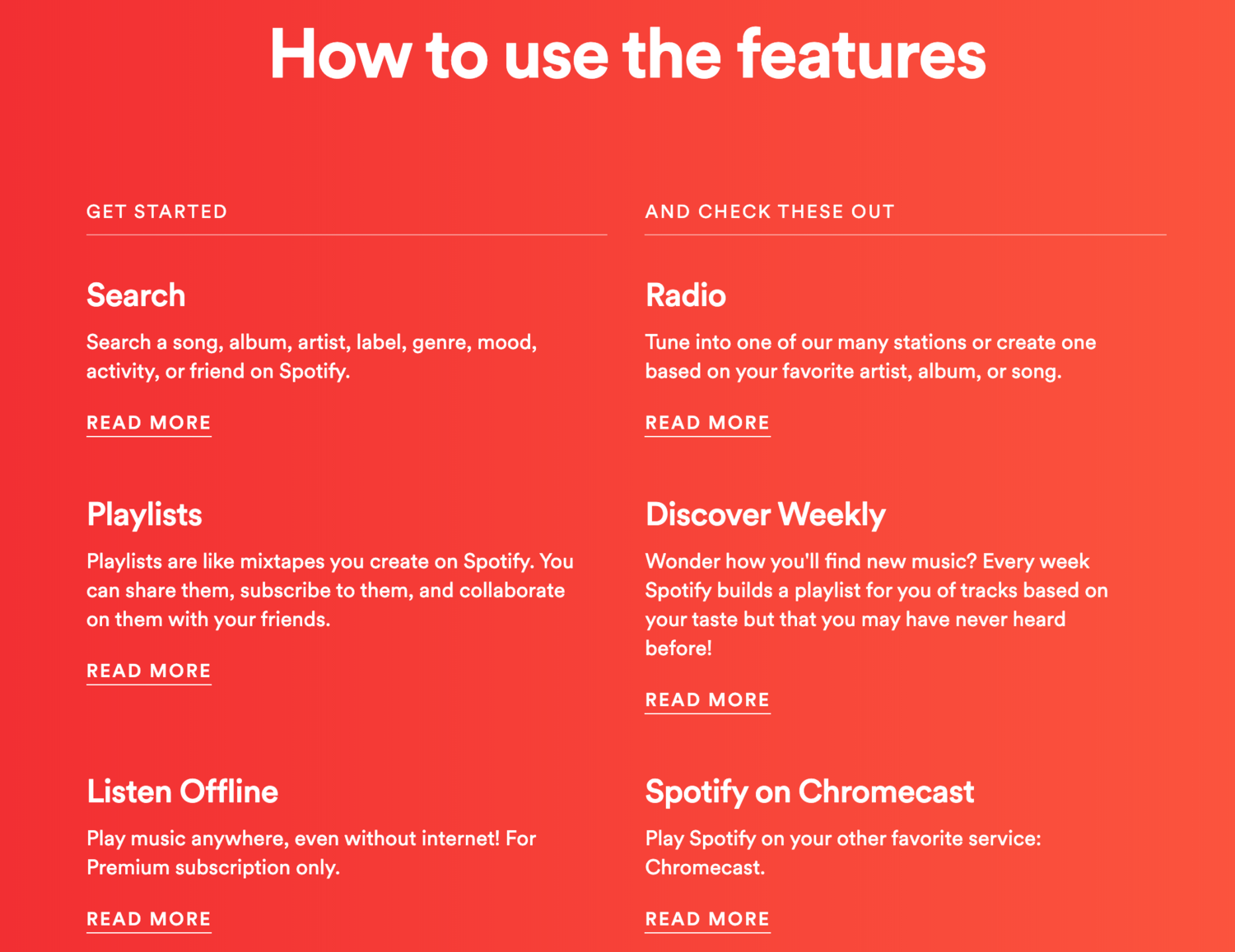Spotify help features self-service