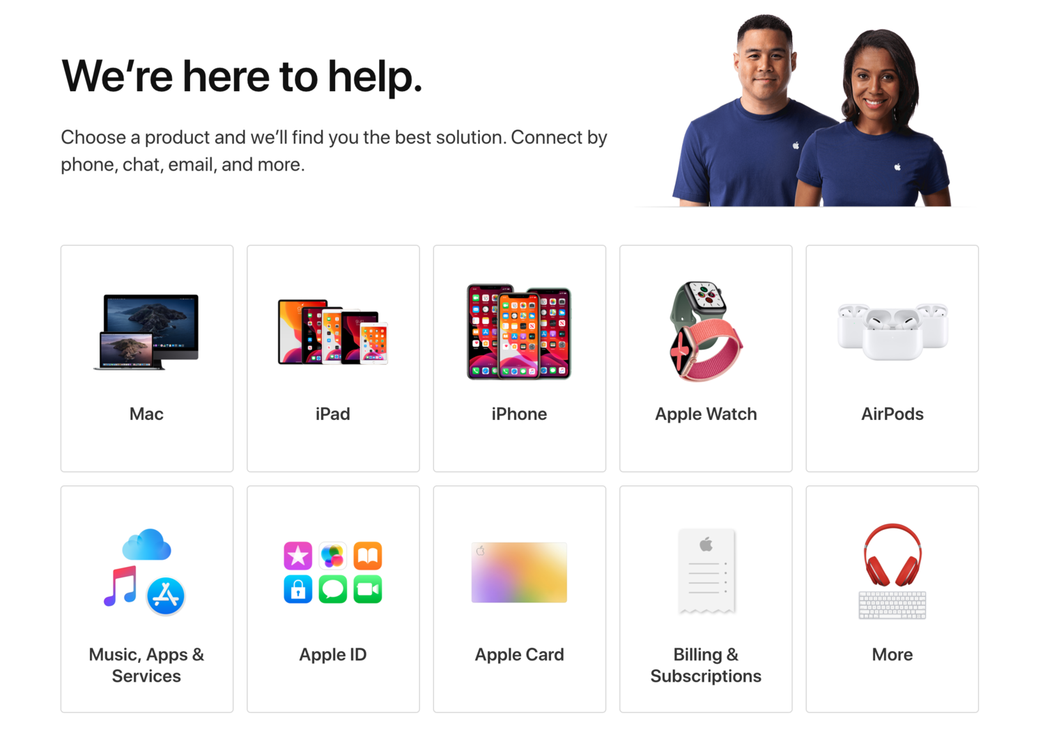 Apple help center flow self-service