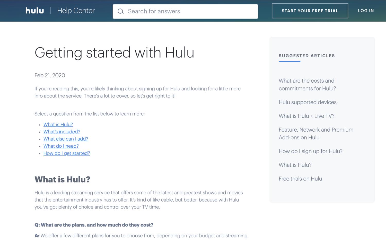 Hulu guides self-service