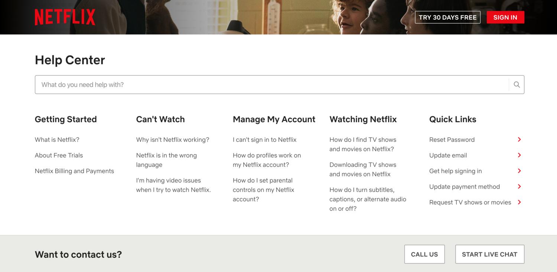 Netflix help center self-service