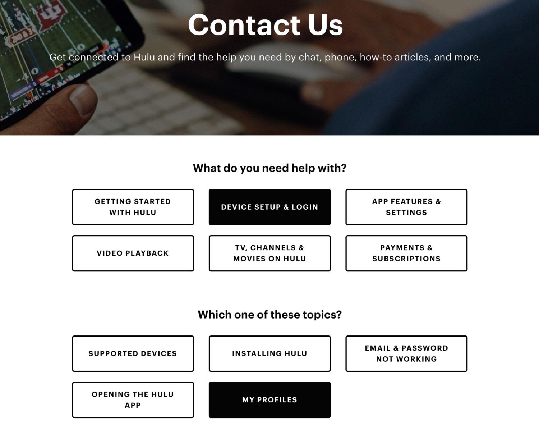 hulu contact us self-service