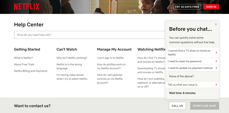 Netflix chat self-service