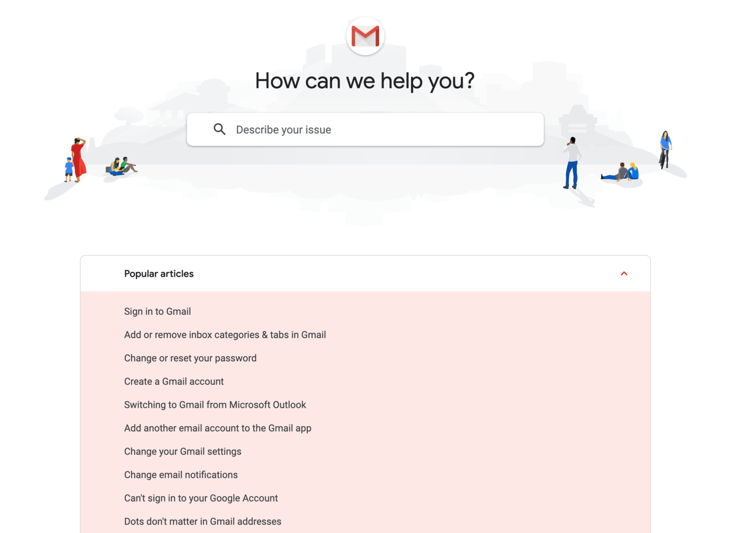 gmail help center self-service