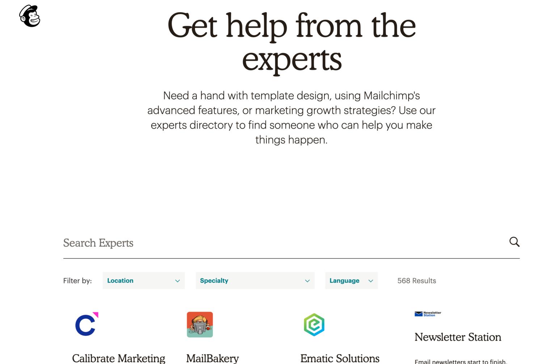 mailchimp expert help self-service