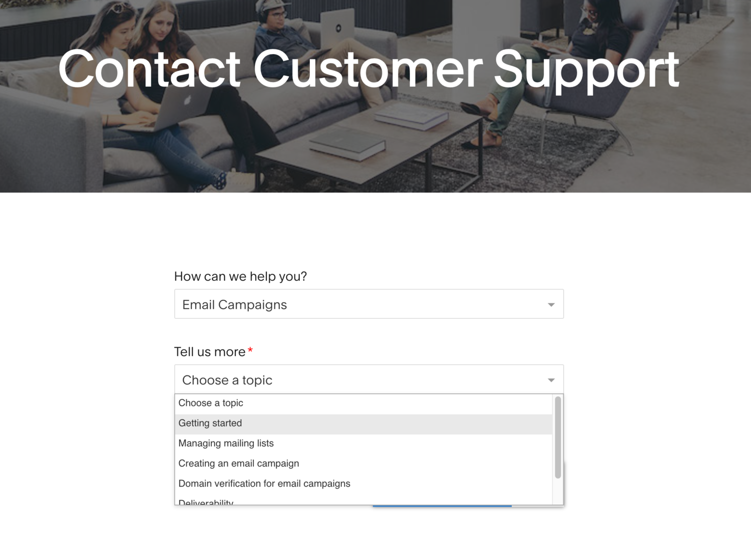 squarespace contact self-service