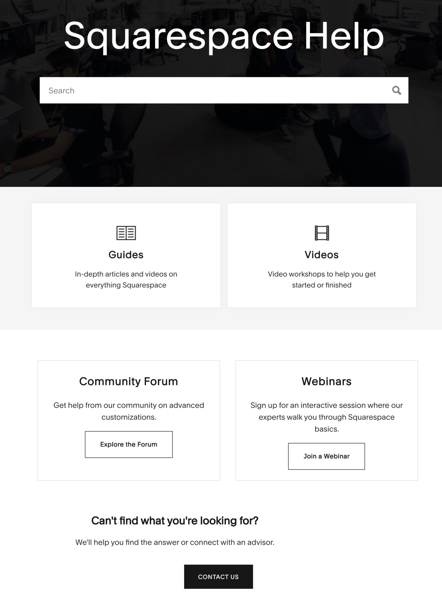 squarespace help center self-service