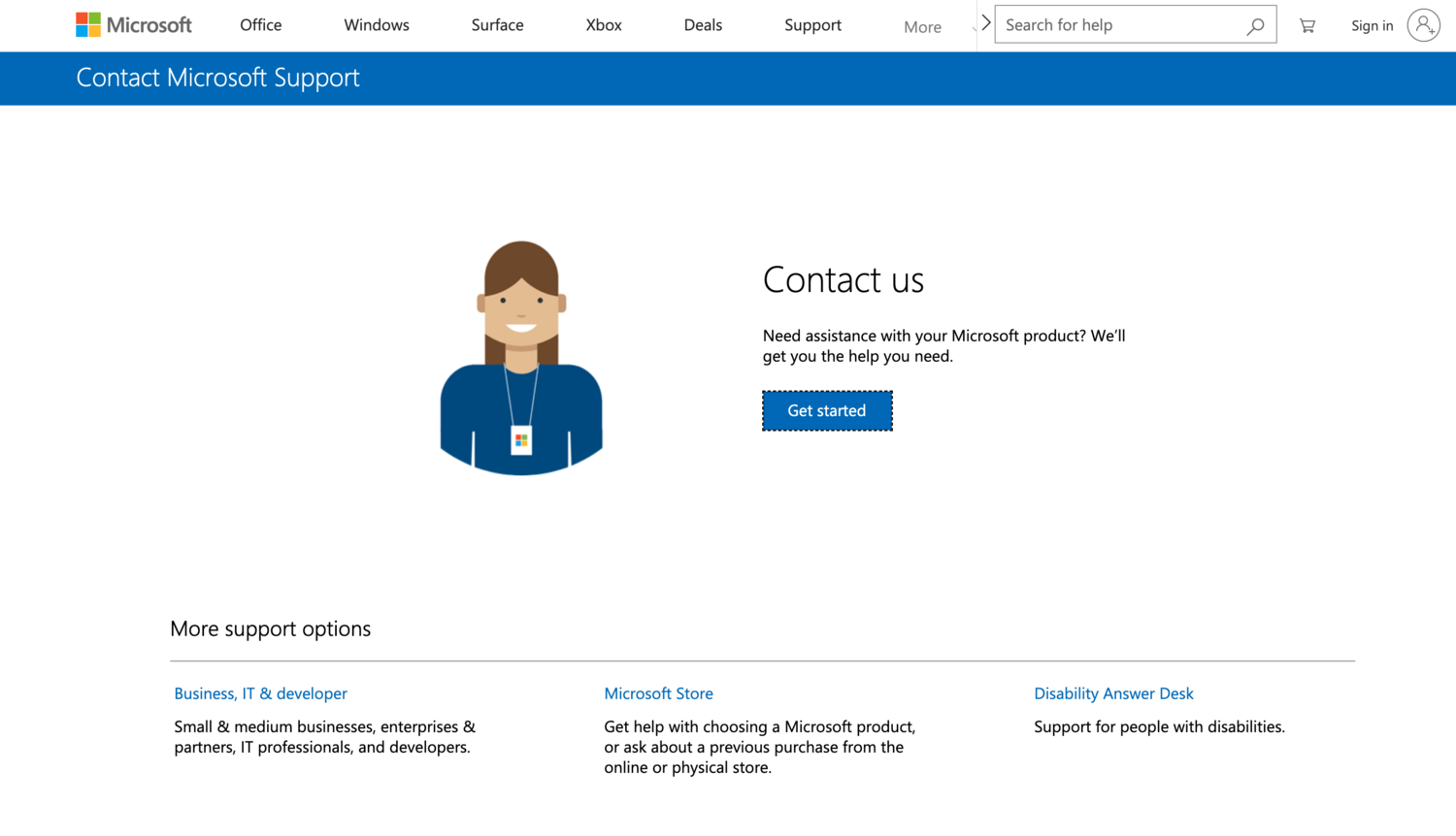 microsoft contact self-service