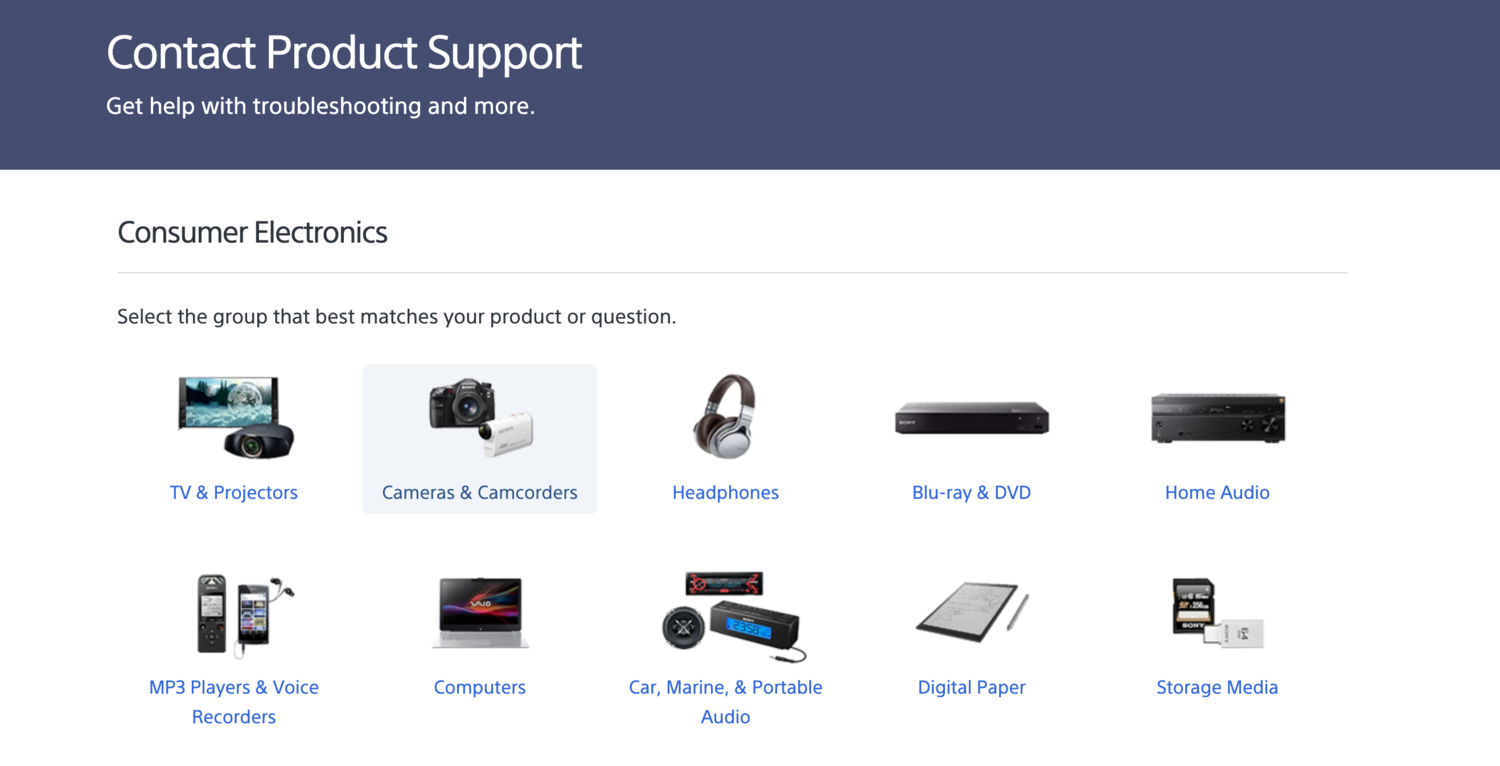 Sony contact product support self-service