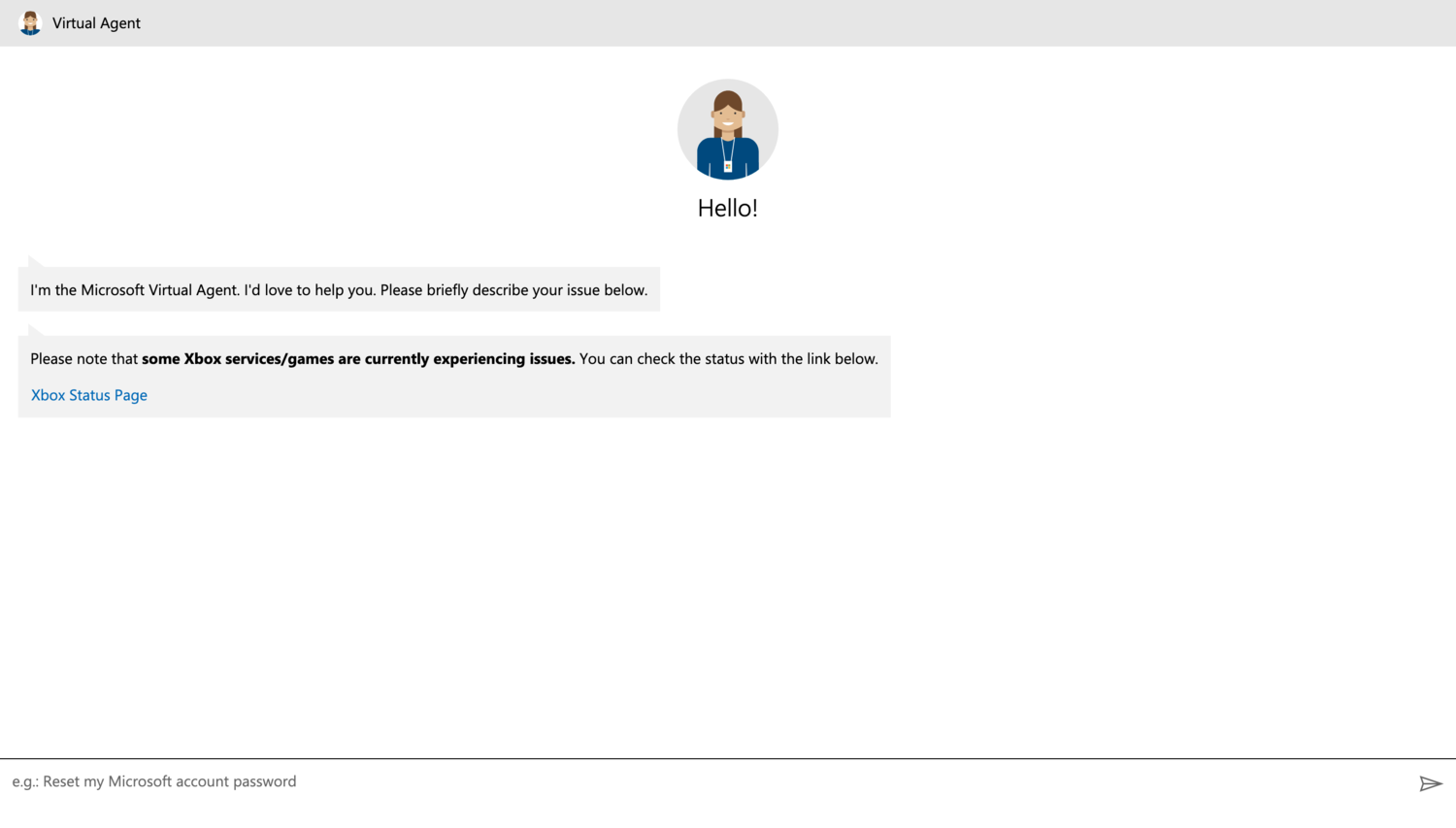 microsoft chat self-service