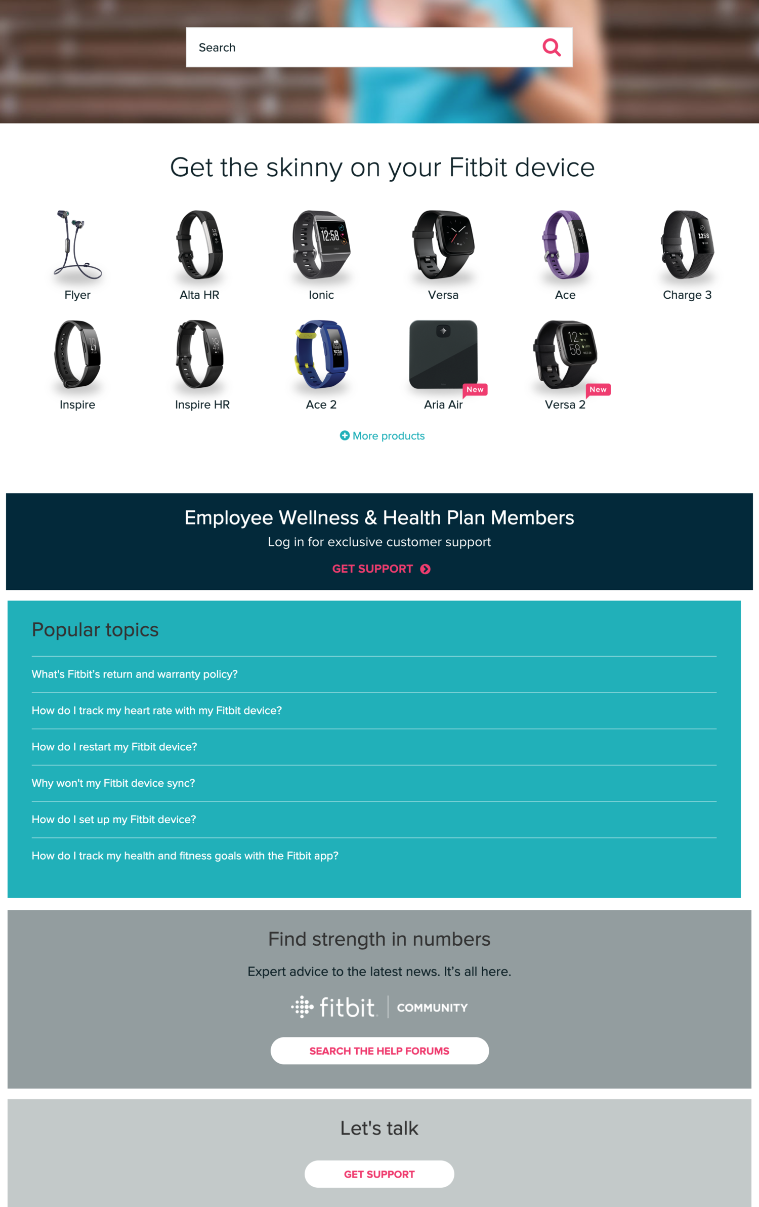 Fitbit brand help center self-service
