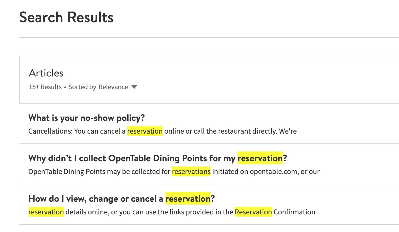 OpenTable search results self-service