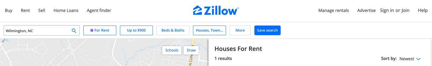 Zillow search self-service
