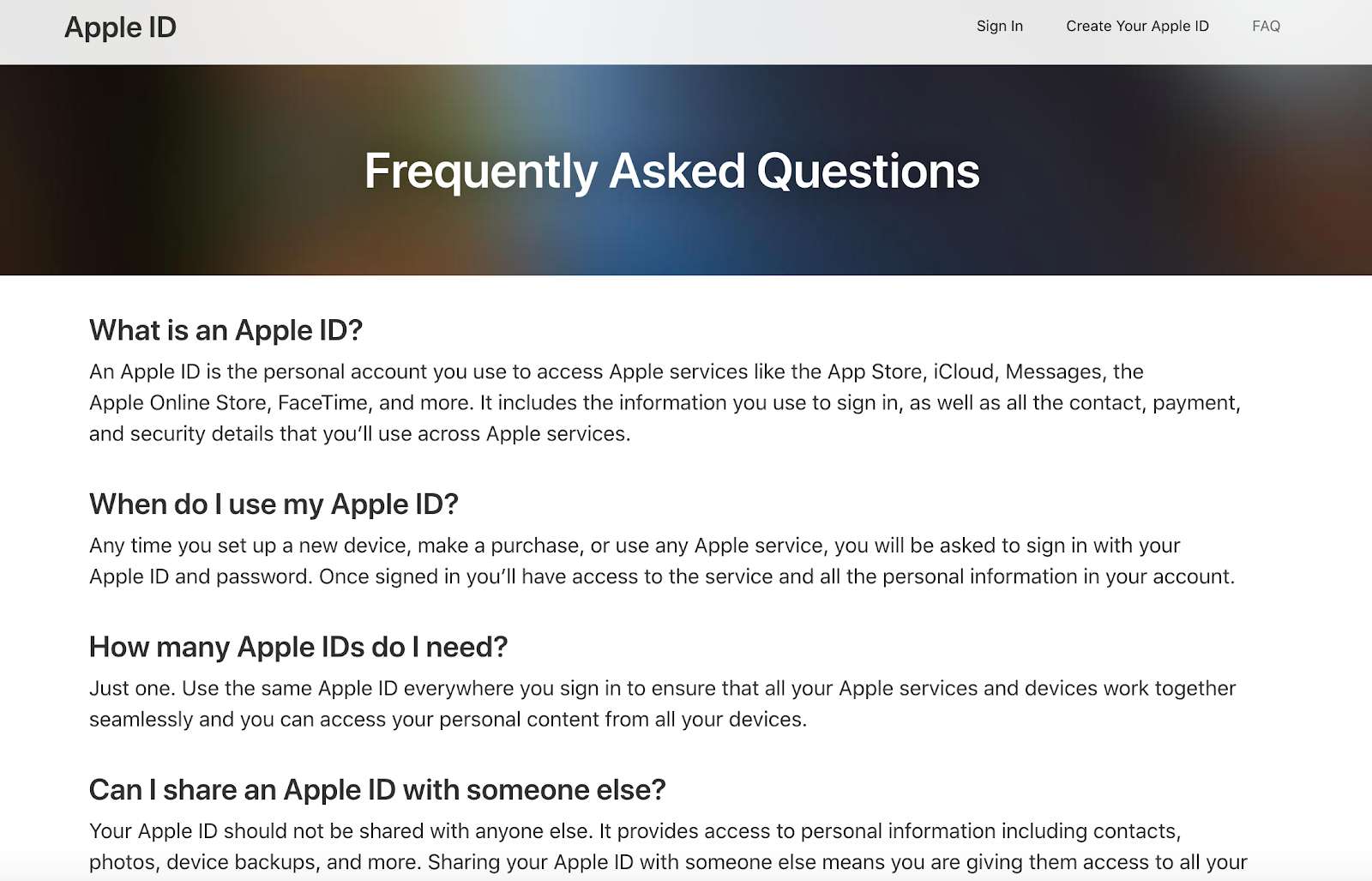 apple faq self-service