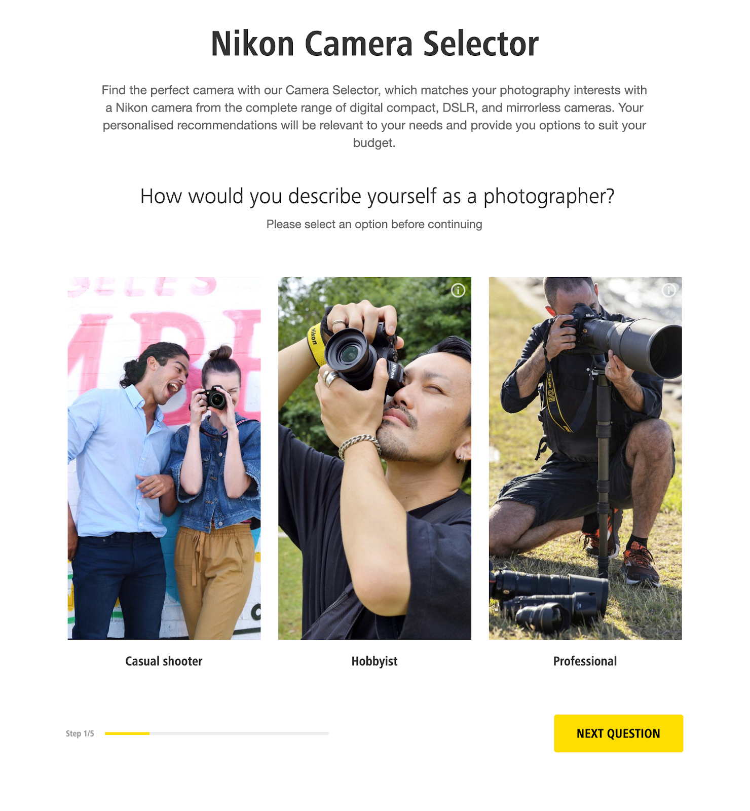 Nikon Guided Selling self-service