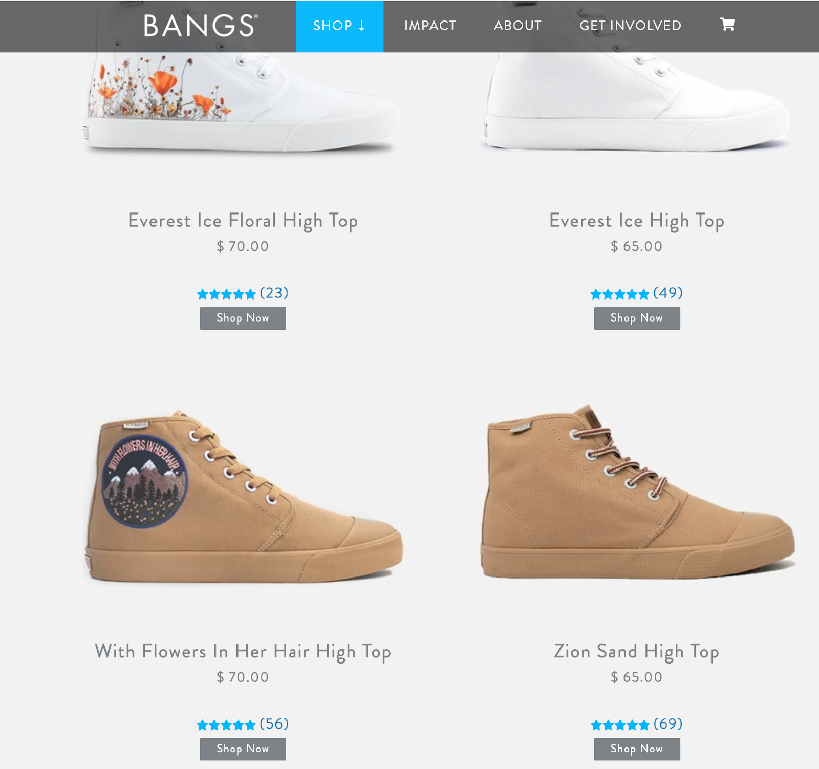 Bangs shoes product information